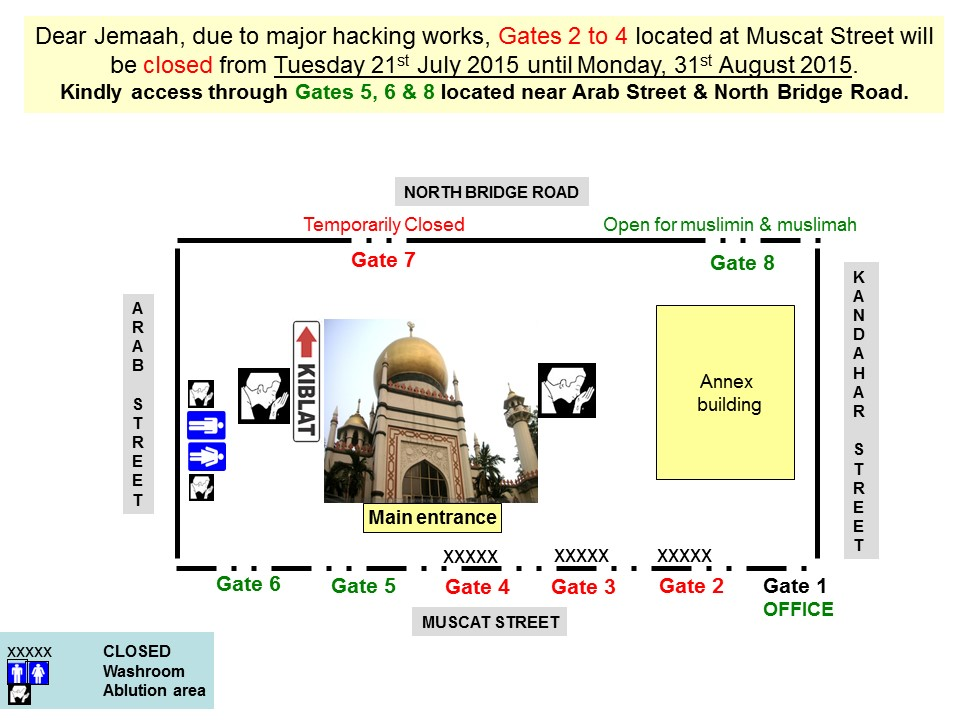 Direction Map (Mosque Closed from 210715 to 160815