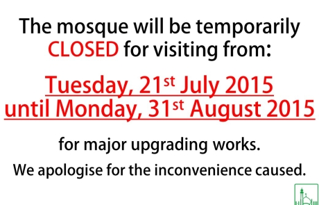 The mosque will be temporarily
